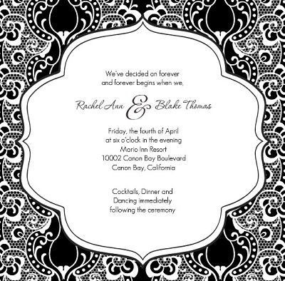 Black  White Wedding Invitation Kits on Black And White Lace Wedding Invitation