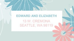 Pink and Blue Daisy Address Label