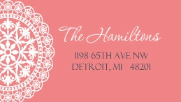 Coral Lace Address Label