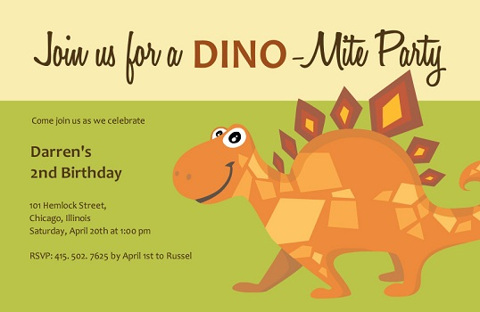 Green and Brown Dinosaur Birthday Invite