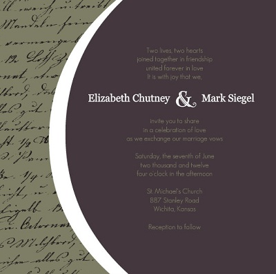 Sophisticated Grey and Green Wedding Invite