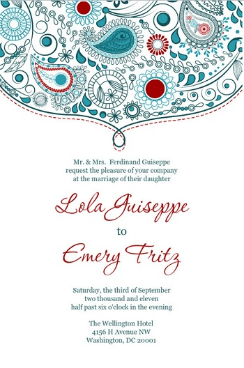 Teal and Red Paisley Wedding Invite