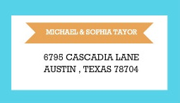 Blue and Coral Stripes Address Label