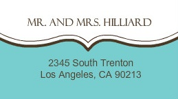 White and Turquoise Address Label