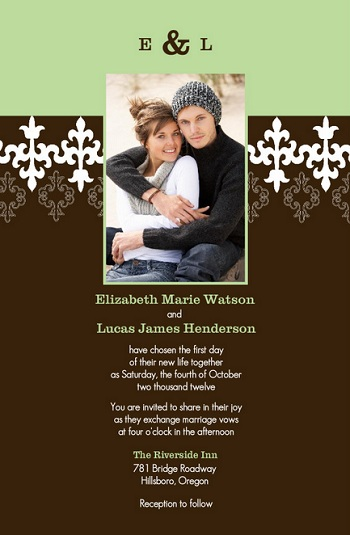 Mint and Brown Wedding Invitation
