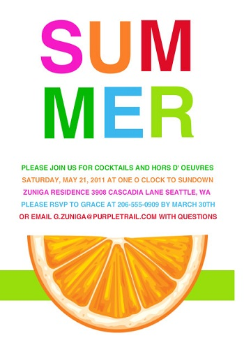 Bright Colorful Summer Party Invitation