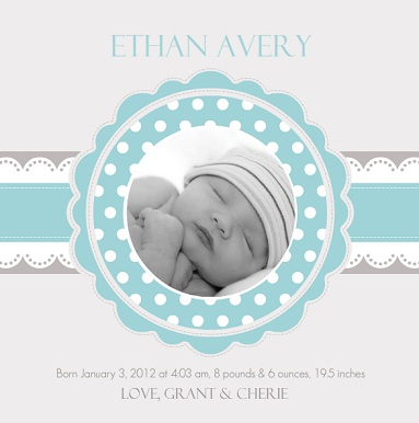 Blue and Gray Baby Boy Birth Announcement Card