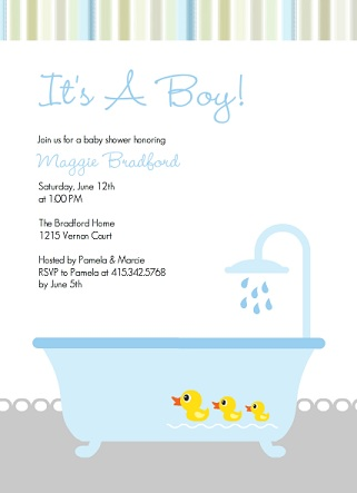 Rubber Duckies Boy Baby Shower Invitation