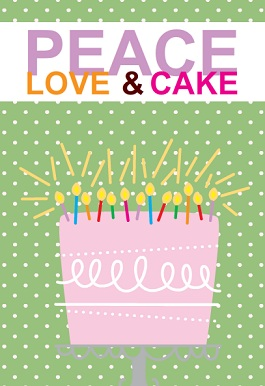 Green Polka Dot Peace Love and Pink Cake Birthday Party Invitation