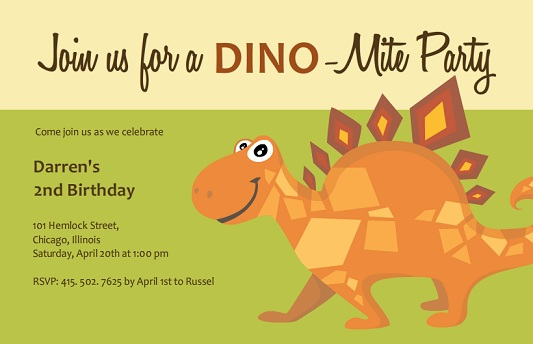 Green and Tan Stegosaurus Kids Birthday Party Invitation