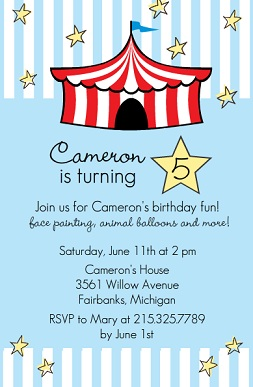 Bright Red Circus Tent Blue Kids Birthday Party Invitation