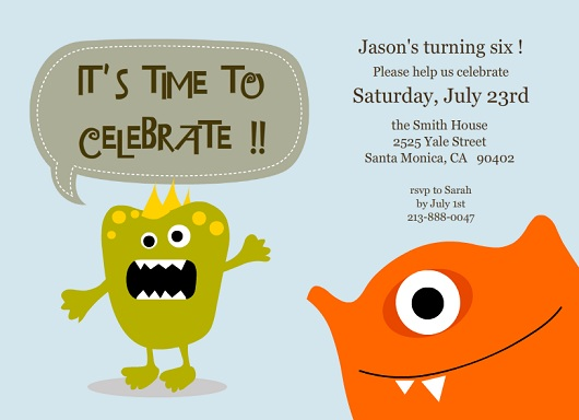 Light Blue Cute Monsters Kids Birthday Party Invitation