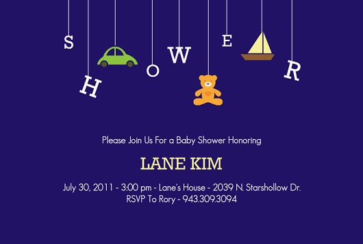 Navy Blue Mobile Baby Shower Invitation