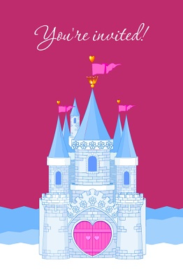 Pink Princess Castle Kids Birthday Party Invitation