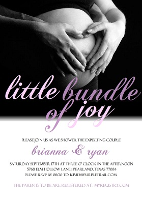 White and Pink Photo Couples Baby Shower Invitation