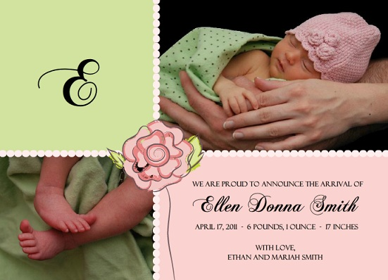 Pink and Green Pastel Baby Rose Girl Baby Announcement