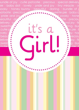 Pink Circle And Stripes Baby Girl Shower Invite