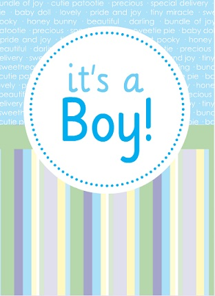 Blue Circle And Stripes Boy Baby Shower Invite