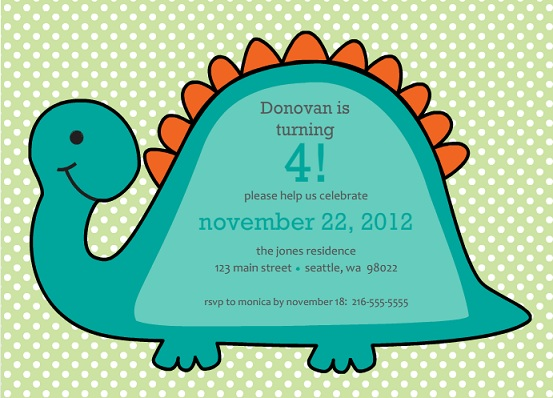 Dino Polka Dots Green Birthday Party Invite