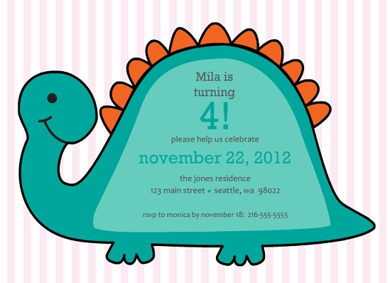 Dino Girls Pink Stripes Birthday Party Invite