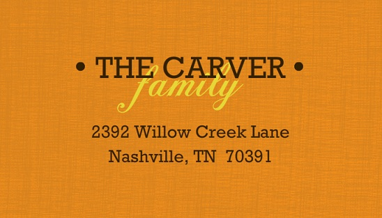 Family Pumpkin Carving Night Address Label