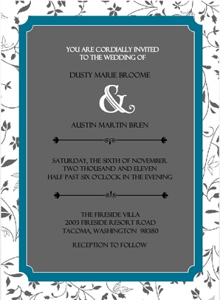 Floral Teal Wedding Invitation