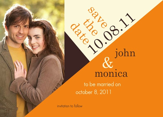 Geo Modern Orange Tan Brown Save The Date Photo Card