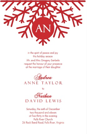 Snowflake Red Monogram Wedding Invitation
