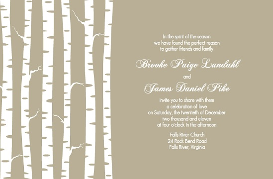 Taupe Winter Birch Wedding Invitation