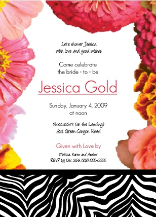 Zebra Party Girls Birthday Invitation