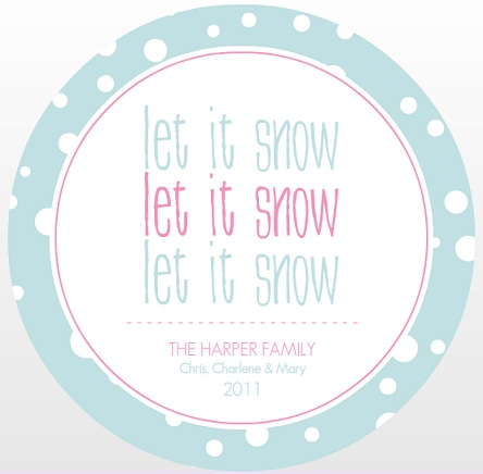 Let It Snow Blue Christmas Card