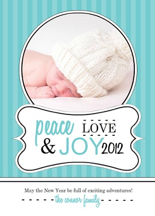 Beautiful Blue Stripes New Years Photo Card