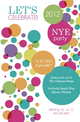 Colorful Confetti New Years Invite