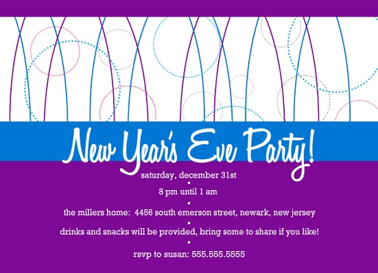 Purple And Blue Geometric New Years Invite