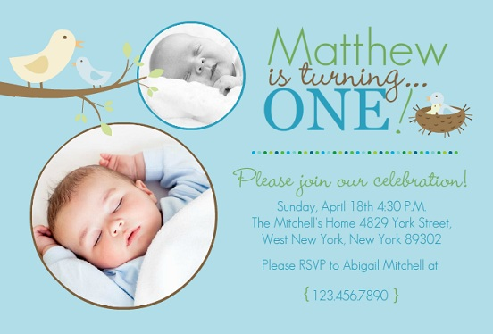 Bright Blue First Birthday Invitation