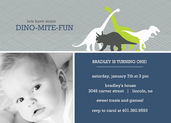 Navy And Gray Dinosaur 1st Birthday Invitation