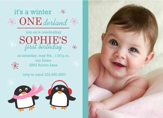 Winter One Derland First Birthday Invite