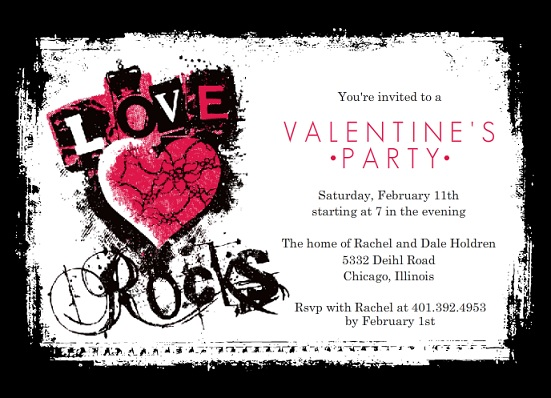 Grunge Love Rocks Valentine's Day Party Invitation