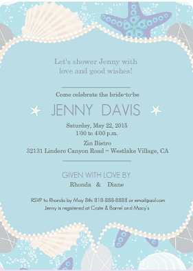 Beach Shell Bridal Shower Invite