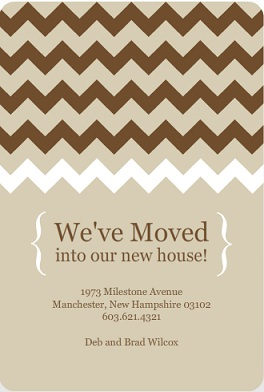 Brown And Taupe Chevron Pattern Moving Announcement