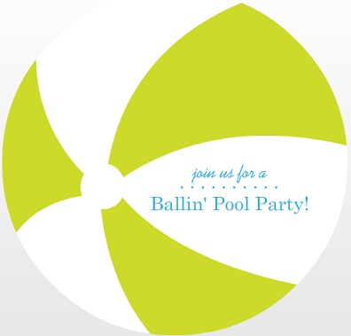 Green Beach Ball Pool Party Invitation
