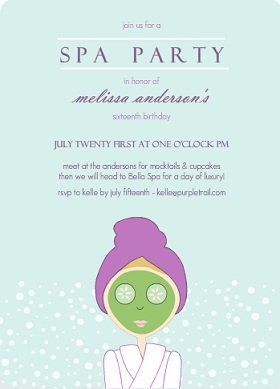 Aqua Spa Girl Birthday Party Invitation
