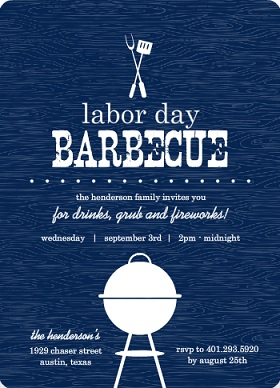 Blue Barbecue Labor Day Invitation