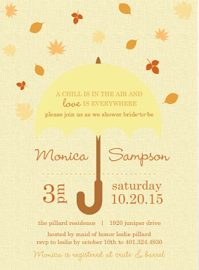 Leaves Umbrella Bridal Shower Invite