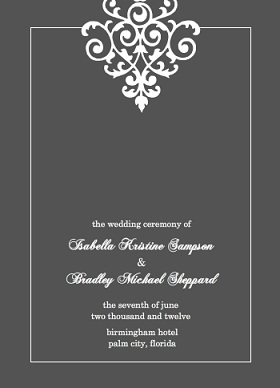 Gray And Elegant White Flourish (Set) Wedding Program