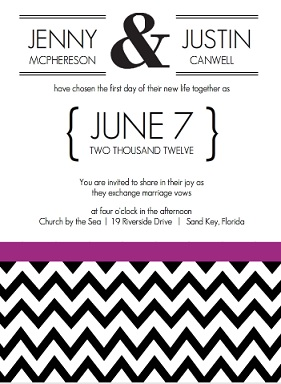 Modern Chevron Geometiric Wedding Invite