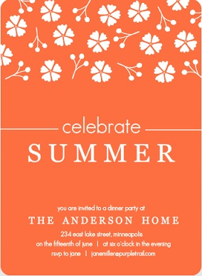 Tangerine Floral Summer Party Invitation