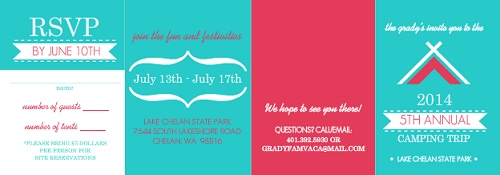 Turquoise And Pink Camping Summer Party Invitation