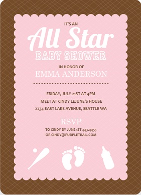 Brown And Pink Baseball Girl Baby Shower Invite