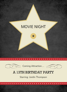 Hollywood Star Movie Night Invite
